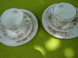 Portelan englezesc Duchess, superb set de cafea si desert tete a tete