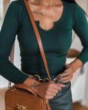 Bluza dama basic verde reiata cu decolteu in V