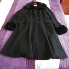 Palton Fany Lux Collection negru din lână mărimea 44 pentru femei