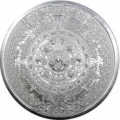 Moneda argint 999 lingou, Calendar aztec 5 oz , 155 grame