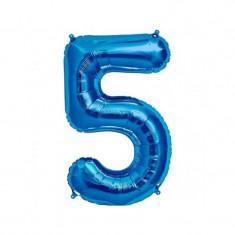 Balon folie cifra mare, albastru metalizat, 35 cm, pentru aniversari model model 5