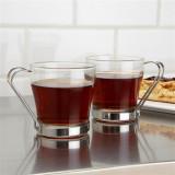 Set 2 pahare sticla temperata-maner inox Pasabahce Chroma 210 ml