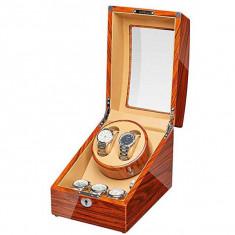 Cutie pentru intors ceasuri automatice iUni, Watch Winder 2 + 3 spatii depozitare Auriu-Crem