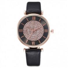 Ceas pentru dama casual Geneva CS1087, curea de piele, model negru