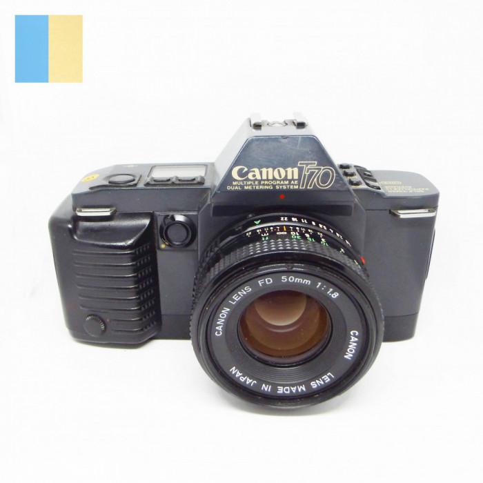 Canon T70 cu obiectiv Canon Lens FD 50mm f/1.8 si Blitz Canon 244T