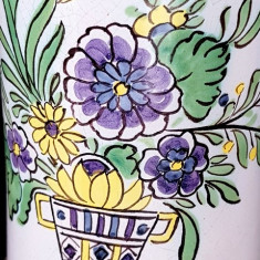 Halba bere  veche sec XIX faianta ceramica pictata capac