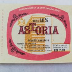 Eticheta Bere - ASTORIA - Arad  - ( Mica )