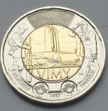 Monedă 2 Dollars 2017 Canada, unc, The Battle of Vimy Ridge, America de Nord