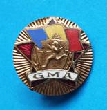 Insigna patriotica veche anii 1950 Gata pentru Munca si Aparare - var rotunda