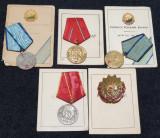 RPR 1960 lot medalii si brevete acordate unui ofiter din Ministerul de Interne