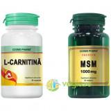 L-Carnitina 30tb + MSM 1000mg Premium 30tb Pachet 1+1