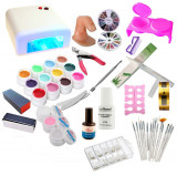 Kit Unghii False Gel Lampa UV 12 Geluri UV Set Manichiura Tipsuri Set 15 Pensule