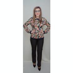 Pantalon drept, maro, din material usor elastic cu aspect de blug