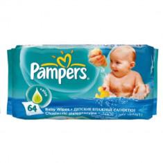 Servetele Umede Igienizante pentru Copii Pampers Baby Fresh, 64 Buc/Pachet, cu Aloe Vera si fara Alcool si Parabeni, Servetele Umede pentru Copii, Ser