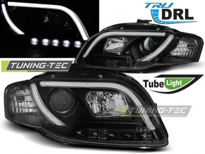 Faruri Audi A4 B7 11.04-03.08 TUBE LIGHTS Negru TRU DRL foto