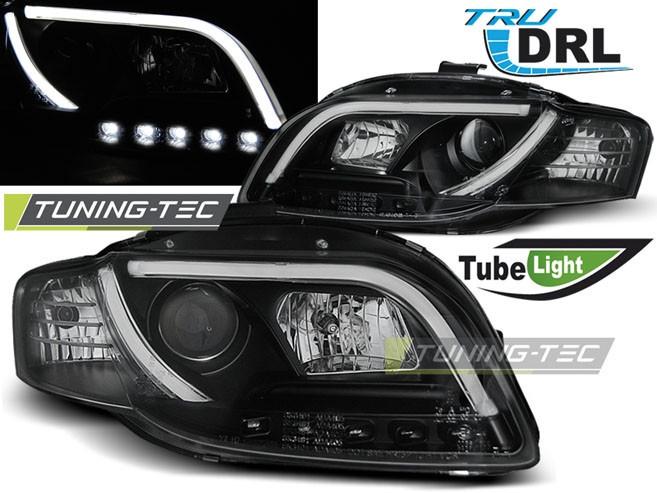 Faruri Audi A4 B7 11.04-03.08 TUBE LIGHTS Negru TRU DRL