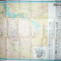 Bucuresti Harta turistica ONT Carpati 1957