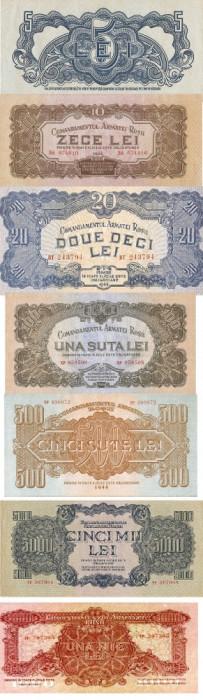Romania 5,10,20,100,500,1000, 5000lei 1944 Ocupatia  Armatei Rosii - Reproduceri