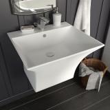 Cumpara ieftin Chiuvetă ceramică suspendată pe perete, alb, 500x450x410 mm