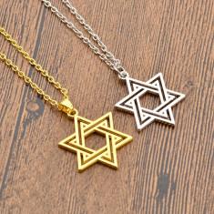 Pandantiv tema religioasa Steaua lui David simbol evreu silver
