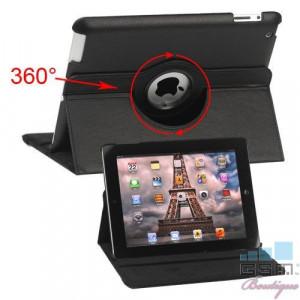Husa Flip Cu Stand iPad 3 Piele PU Si Rotatie 360 Grade Neagra