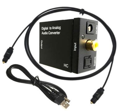Adaptor audio Digital la Analog, Active, convertor SPDIF Toslink la RCA si Jack 3.5mm, alimentare 5v, negru foto