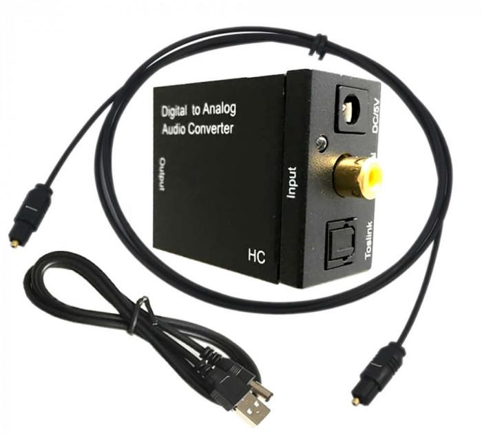 Adaptor audio Digital la Analog, Active, convertor SPDIF Toslink la RCA si Jack 3.5mm, alimentare 5v, negru