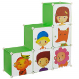 Dulap camera copii Star, 110 x 110 x 37 cm, plastic, multicolor, cu 6 compartimente sistem asamblareDIY