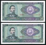 u444 ROMANIA PERECHE CONSECUTIVA 50 LEI 1966 UNC NECIRCULATA