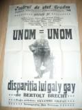 Afis al Teatrului de Stat din Oradea cu piesele Un Om si Disparitia lui Galy-Gay