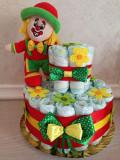 Tort Scutece cu 1 etaj, mascota si mesaj personalizat, DSPH007