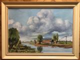 Tablou,pictura in ulei pe panza,sat olandez,semnat,rama de lemn, Peisaje, Altul