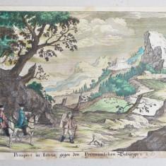 """Mart Engelbrecht """"Prospect in Istria"""" gravura veche sec 18"""