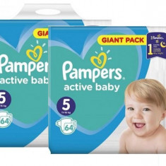 Pachet 2xPampers Active Baby Giant Pack - nr.5 , 64 buc