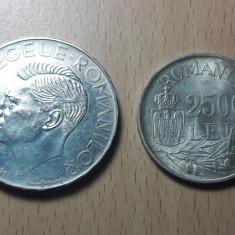 500 Lei 1941 + 25000 Lei 1946 Lot monede argint Romania Regat!