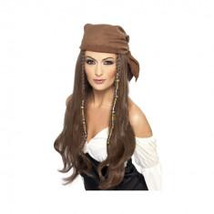 Peruca Pirat castanie, cu bandana - Carnaval24