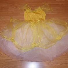 costum carnaval serbare rochie dans floarea soarelui margareta copii 4-5-6 ani