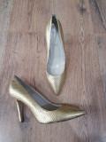 Superbi pantofi stiletto dama noi piele naturala auriu comozi 38