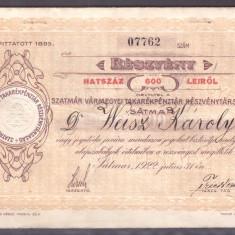 Romania 1922 - Actiune 600Lei Satu Mare, Casa de Economii