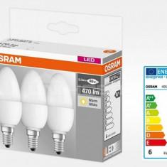 Set de 3x bec Led Osram, LED BASE CLASSIC B, E14, 5.7W (40W), 220-240 V, lumina calda (2700K)