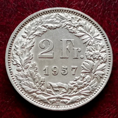 ELVETIA - 2 Franci 1957 B ( Francs - Franken ) Argint stare foarte buna XF-aUNC