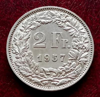 ELVETIA - 2 Franci 1957 B ( Francs - Franken ) Argint stare foarte buna XF-aUNC foto
