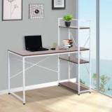 Masa de birou cu rafturi, Alb+Nuc