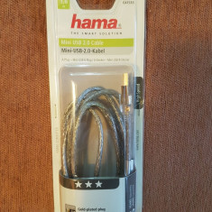 Cablu Hama Mini USB 2.0, dublu ecranat, transparent, 1.80m (SIGILAT)