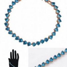 Bratara Luxury Hearts Aquamarine