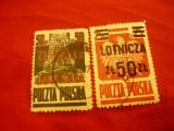 2Timbre Polonia 1947 - Aviatie  supratipar Lotnicza, 2 val. stampilate 25 si 50z