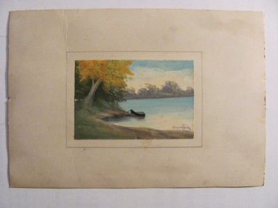 "CY Tablou miniatura vechi ""Barca la malul apei"" u / c semnat indescifrabil 1940 foto"