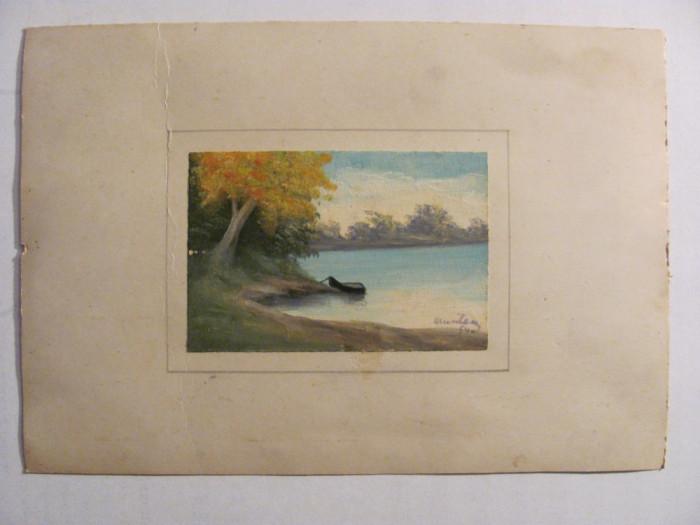 """CY Tablou miniatura vechi """"Barca la malul apei"""" u / c semnat indescifrabil 1940"""