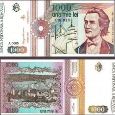 SV * Romania BNR  1000  LEI  1991  *  SERIA FARA PUNCT  A 0005       AUNC+ / UNC