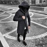 Cardigan pentru barbati, gri-inchis, slim fit, lung, bumbac - BB-antrazit, S, XL